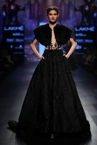 Black Ball Gown With Feathers