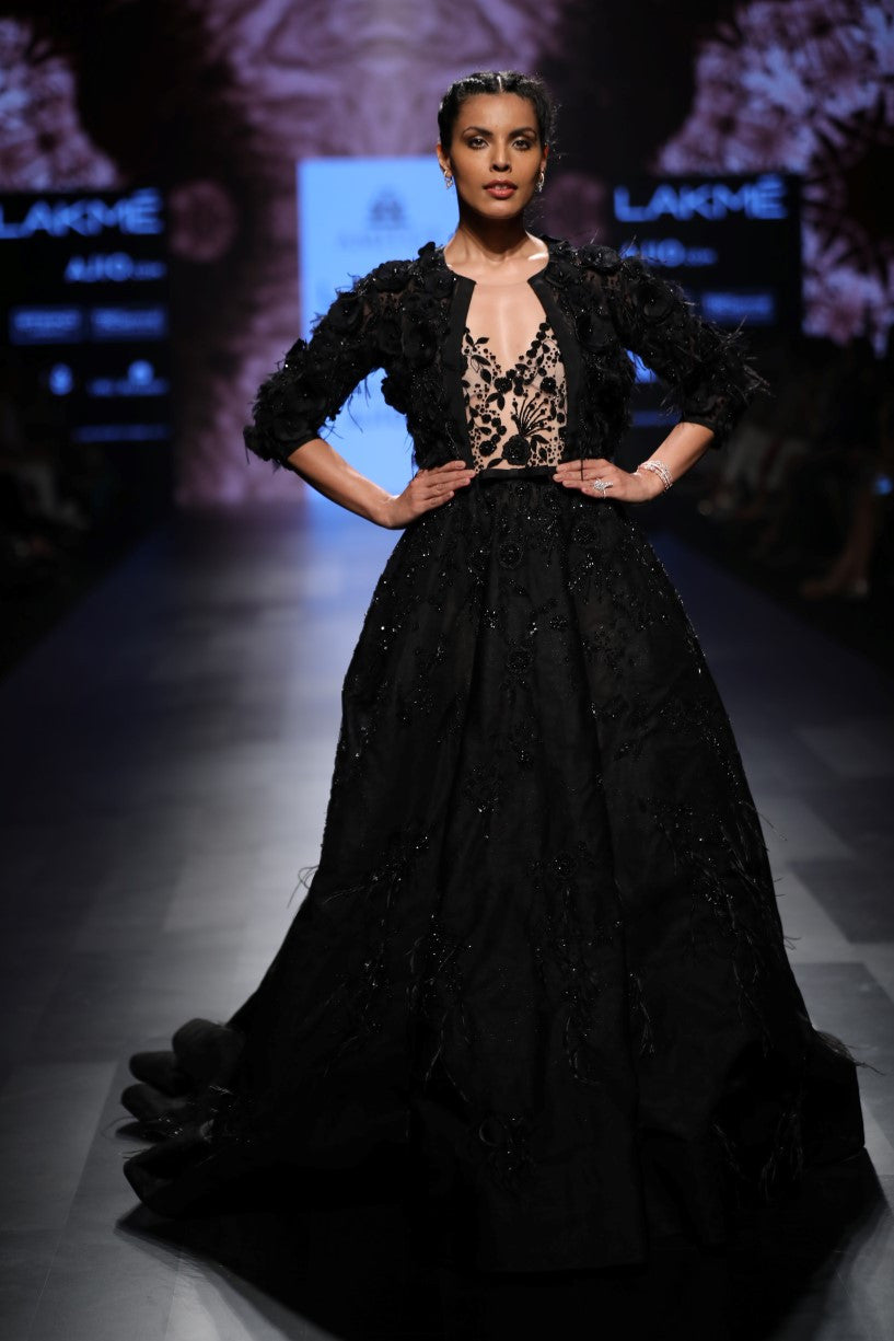 AGT By Amit GT - Black Ball Gown - INDIASPOPUP.COM
