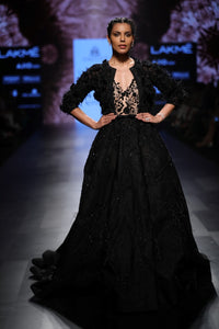 Agt By Amit Gt - Black Jacket With Feathers - INDIASPOPUP.COM