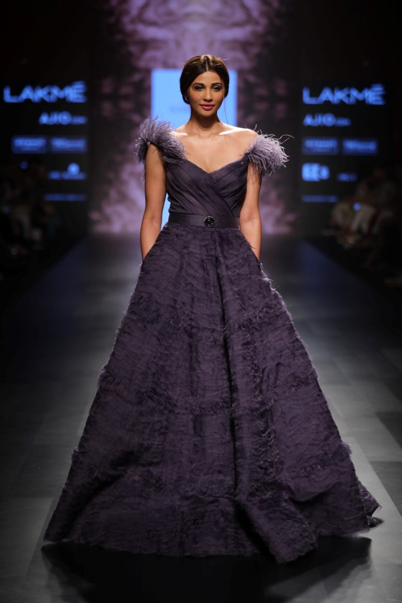 AGT BY AMIT GT TANZANITE ORGANZA BALL GOWN