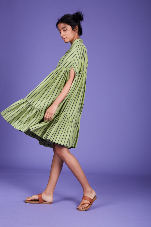 Mati-Green Mati Cape Dress-INDIASPOPUP.COM
