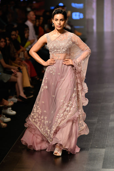 Mauve Pink Lehenga Set With Long Cape