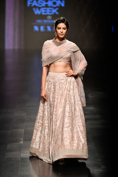 Blush Pink Chintz Lehenga Set With Dupatta