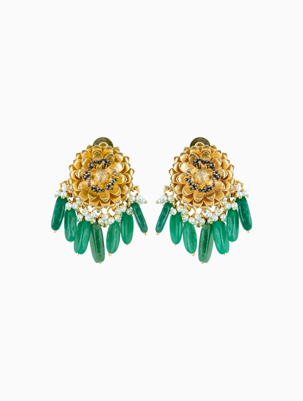 Hyperbole-Jade Green & Marigold Stud Earrings-INDIASPOPUP.COM
