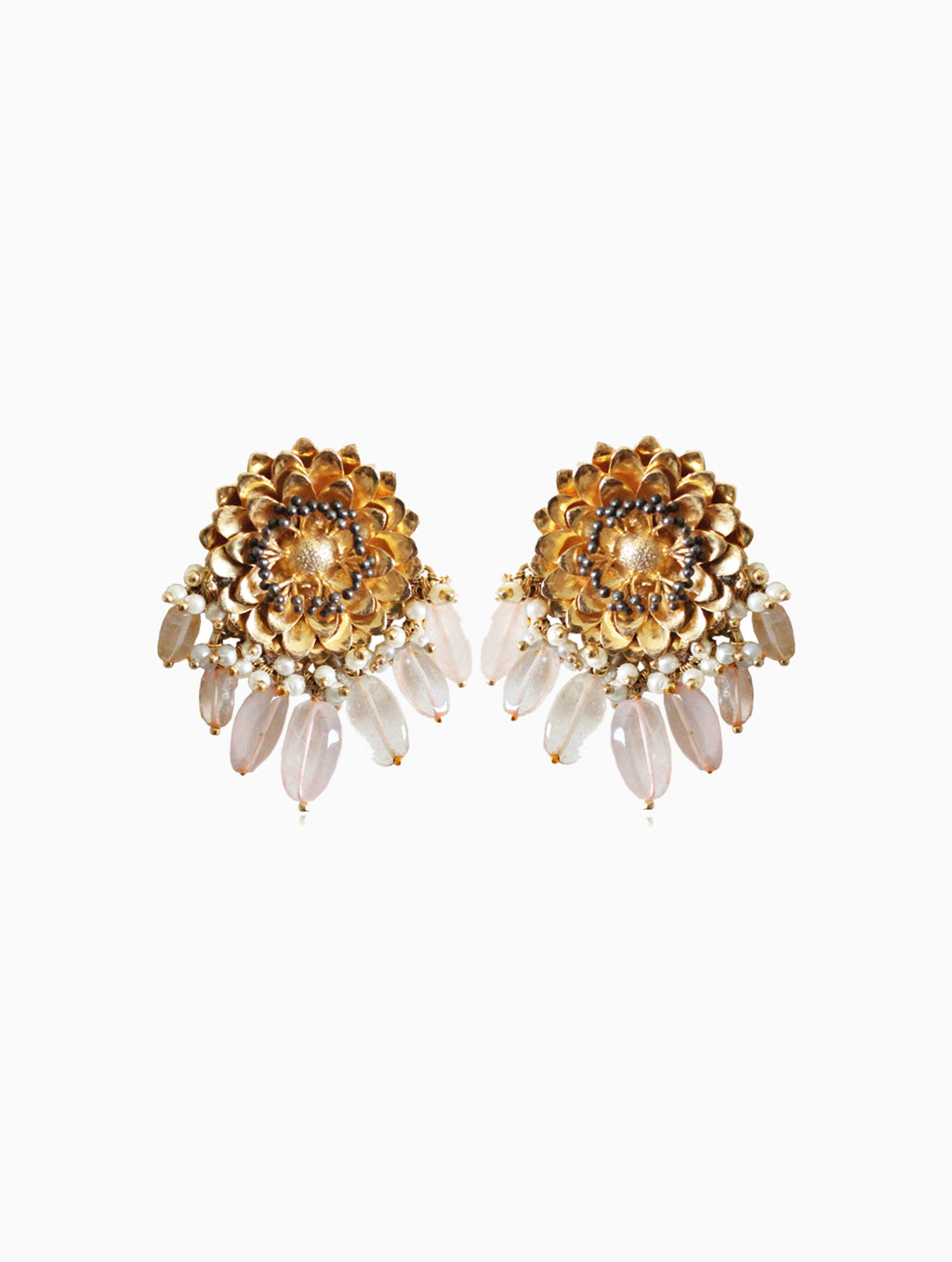 Hyperbole-Rose & Marigold Studs Earrings-INDIASPOPUP.COM