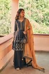 Matsya-Blue Chanderi Silk Short Kurta Set-INDIASPOPUP.COM
