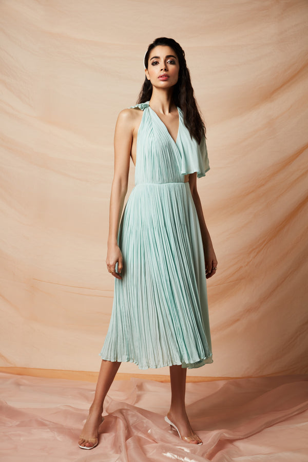 Rhea Pillai Rastogi-Blue Crepe Halter Dress-INDIASPOPUP.COM