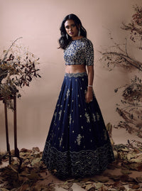 MISHRU NAVY BLUE HEAVY EMBROIDERY LEHENGA