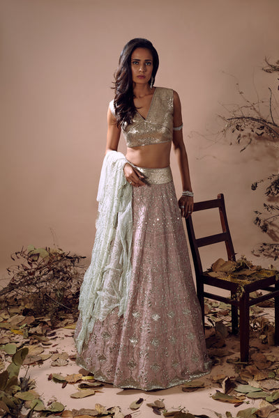 MISHRU MUTED PINK RAW SILK LEHENGA