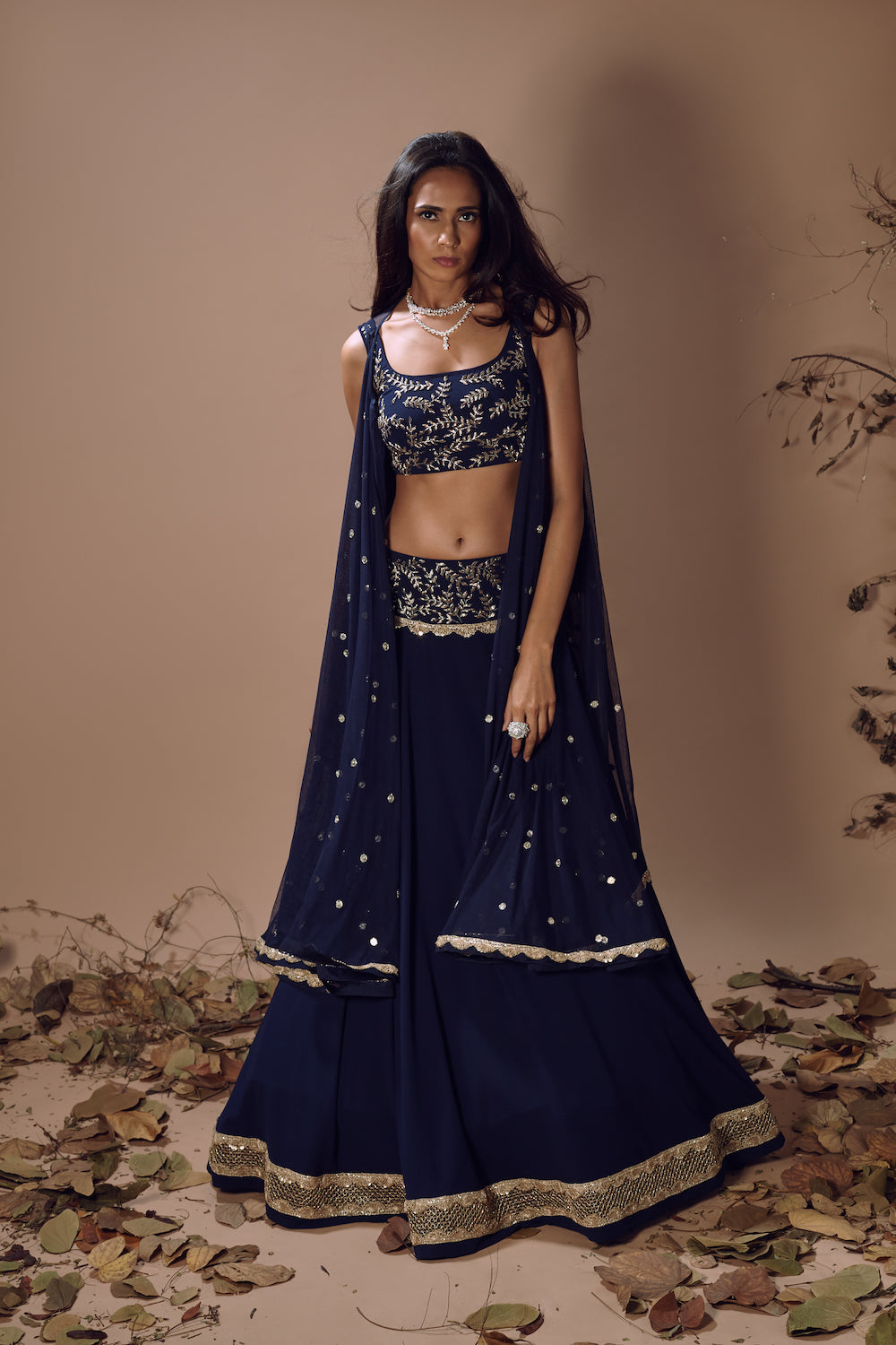MISHRU NAVY BLUE SKIRT WITH EMBROIDERED BELT AND CAPE