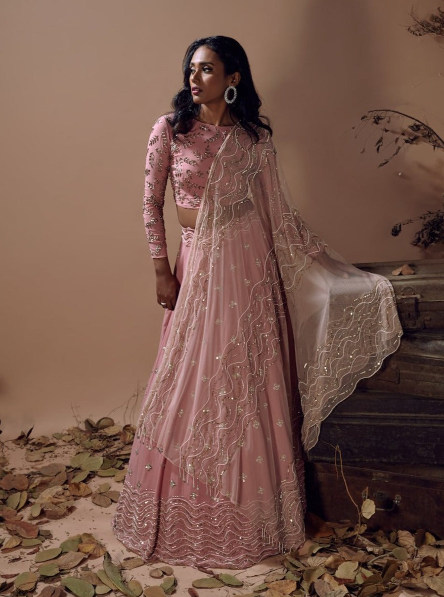 MISHRU MUTED PINK WAVES TULLE LEHENGA
