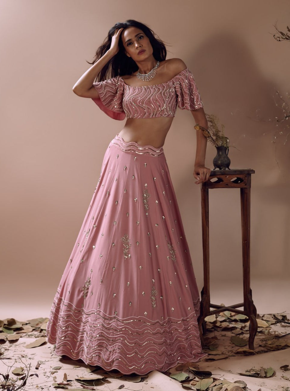 MISHRU MUTED PINK OFF-SHOULDER LEHENGA