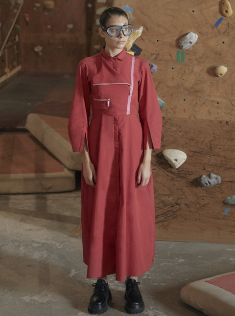 Notebook-Lipstick Red Shirt Dress-INDIASPOPUP.COM