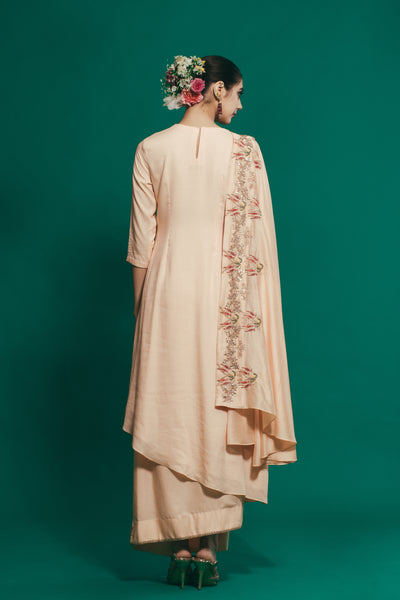 HOUSE OF NEHA & TARUN PEACH DRAPED KURTA WITH WRAP SKIRT