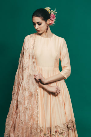 HOUSE OF NEHA & TARUN PEACH FLOOR LENGTH GOWN WITH DUPATTA