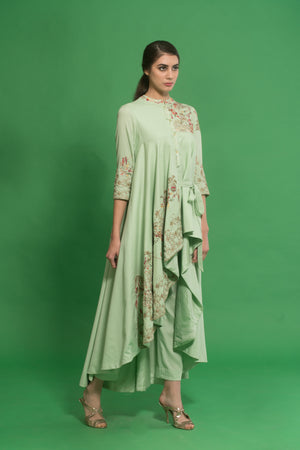HOUSE OF NEHA & TARUN GREEN EMBROIDERED DRAPED KURTA SET
