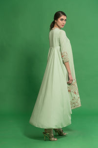 House Of Neha & Tarun - Green Embroidered Draped Kurta Set - INDIASPOPUP.COM