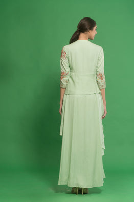 HOUSE OF NEHA & TARUN GREEN EMBROIDERED DRAPED COWL KURTA SET