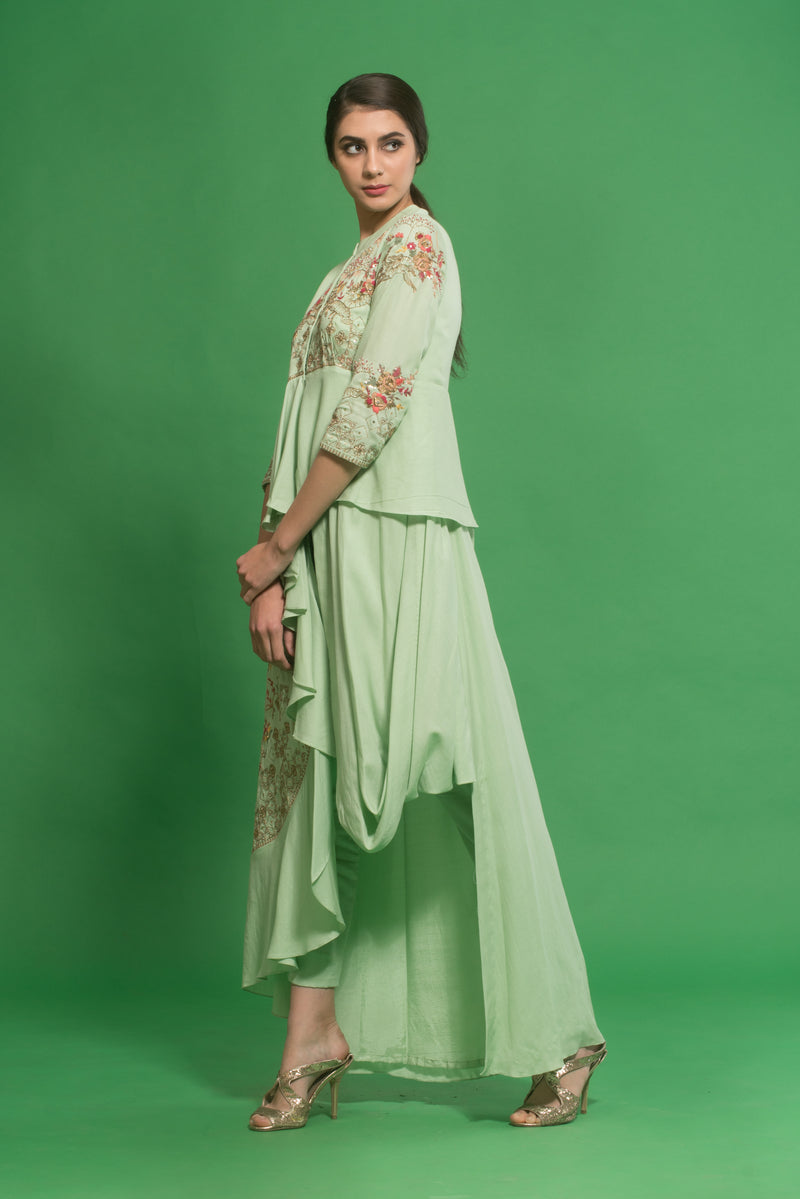 House Of Neha & Tarun - Green Embroidered Draped Cowl Kurta Set - INDIASPOPUP.COM