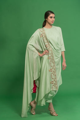 HOUSE OF NEHA & TARUN GREEN ANARKALI WITH EMBROIDERED DRAPED DUPATTA