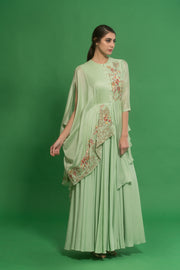 House Of Neha & Tarun - Green Embroidered Cape Gown - INDIASPOPUP.COM