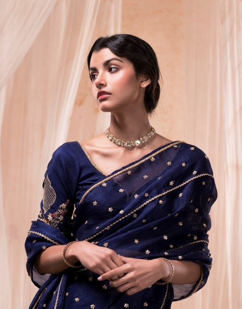 Nadima Saqib - Royal Blue Embroidered Saree - INDIASPOPUP.COM