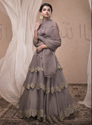 NADIMA SAQIB GREY TIERED SKIRT WITH BUSTIER BLOUSE