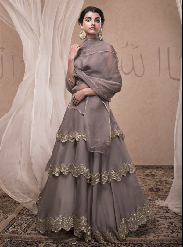 Nadima Saqib - Grey Tiered Skirt With Bustier Blouse - INDIASPOPUP.COM