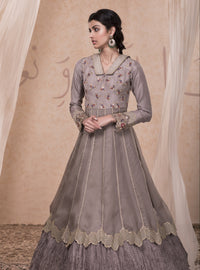 Nadima Saqib - Grey Embroidered Anarkali Gown - INDIASPOPUP.COM