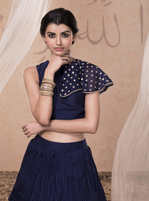 Nadima Saqib - Blue Tiered Skirt With Croptop - INDIASPOPUP.COM