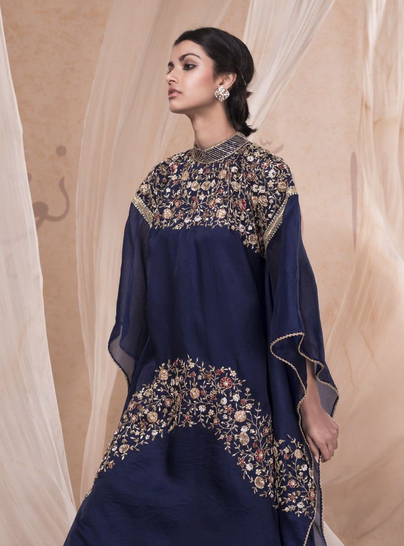 Nadima Saqib - Royal Blue Embroidered Kaftan & Skirt - INDIASPOPUP.COM