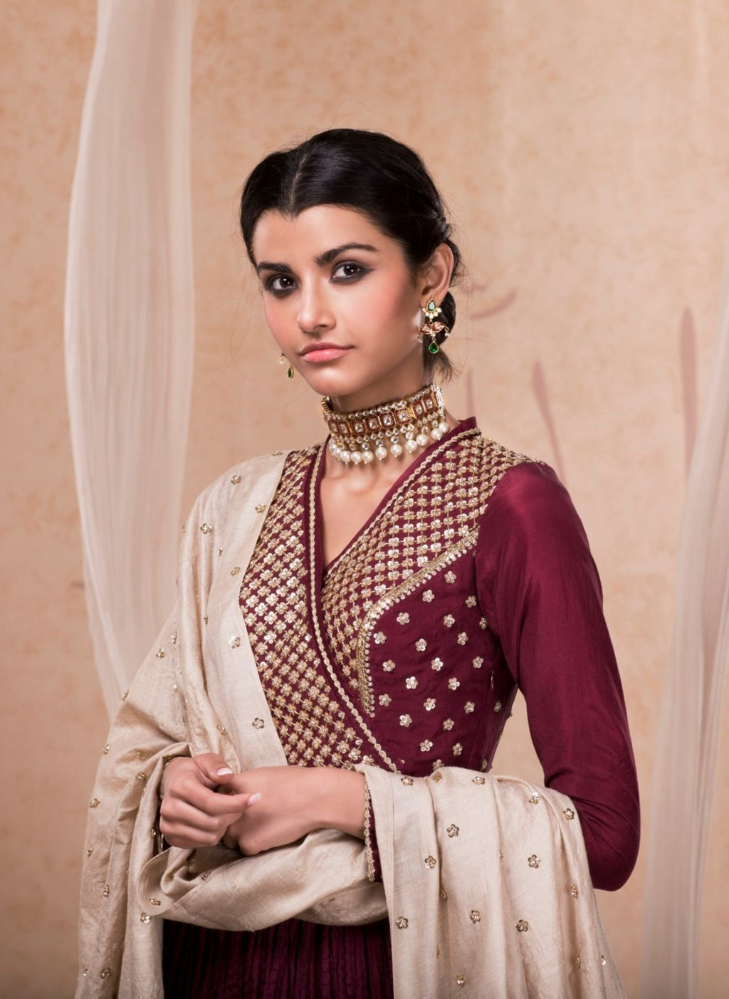 NADIMA SAQIB MAROON EMBROIDERED ANARKALI GOWN
