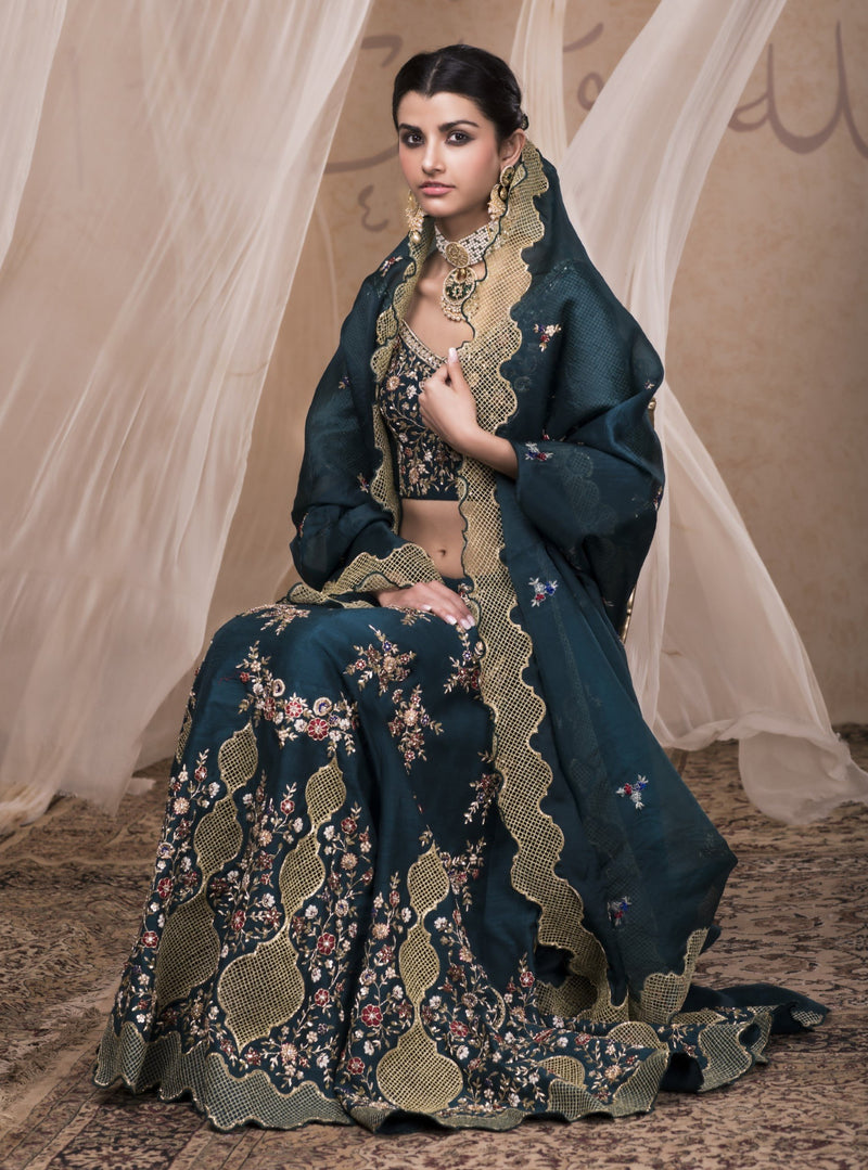 Nadima Saqib - Green Embroidered Lehenga Set - INDIASPOPUP.COM