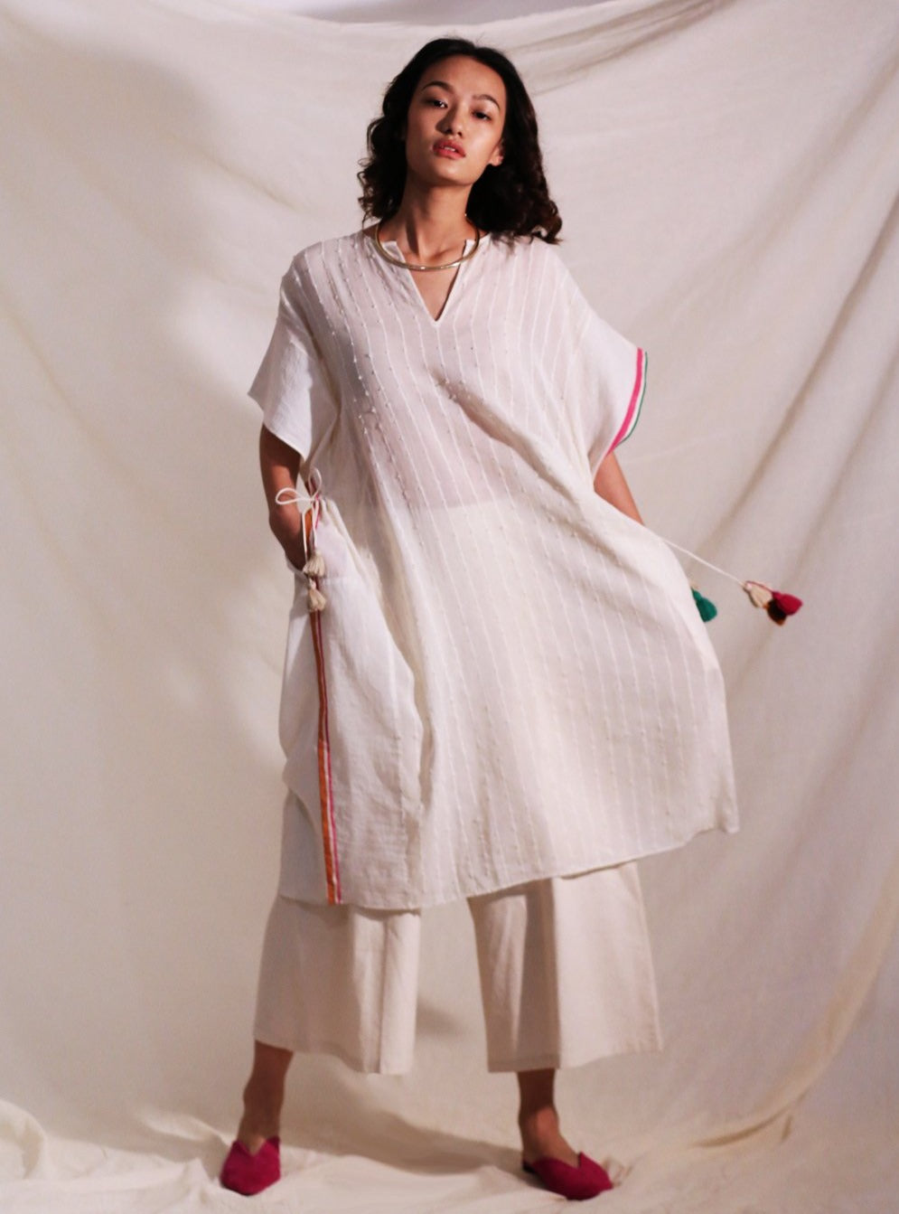 O'Frida-Off White Cotton Kaftan-INDIASPOPUP.COM