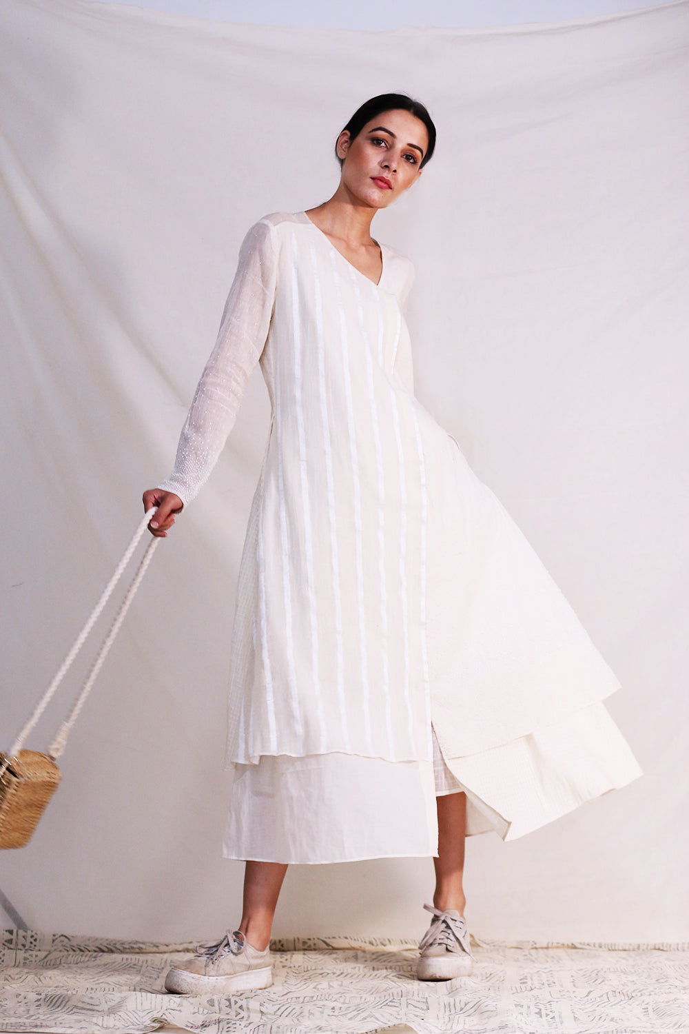 O'Frida-Off White Asymmetric Full Circle Dress-INDIASPOPUP.COM