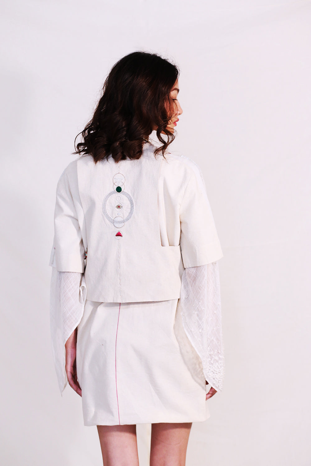 O'Frida-Off White Bolero Chapan Short Jacket-INDIASPOPUP.COM