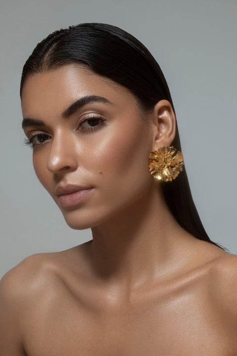 Opalina-Yellow Gold Floral Stud Earrings-INDIASPOPUP.COM
