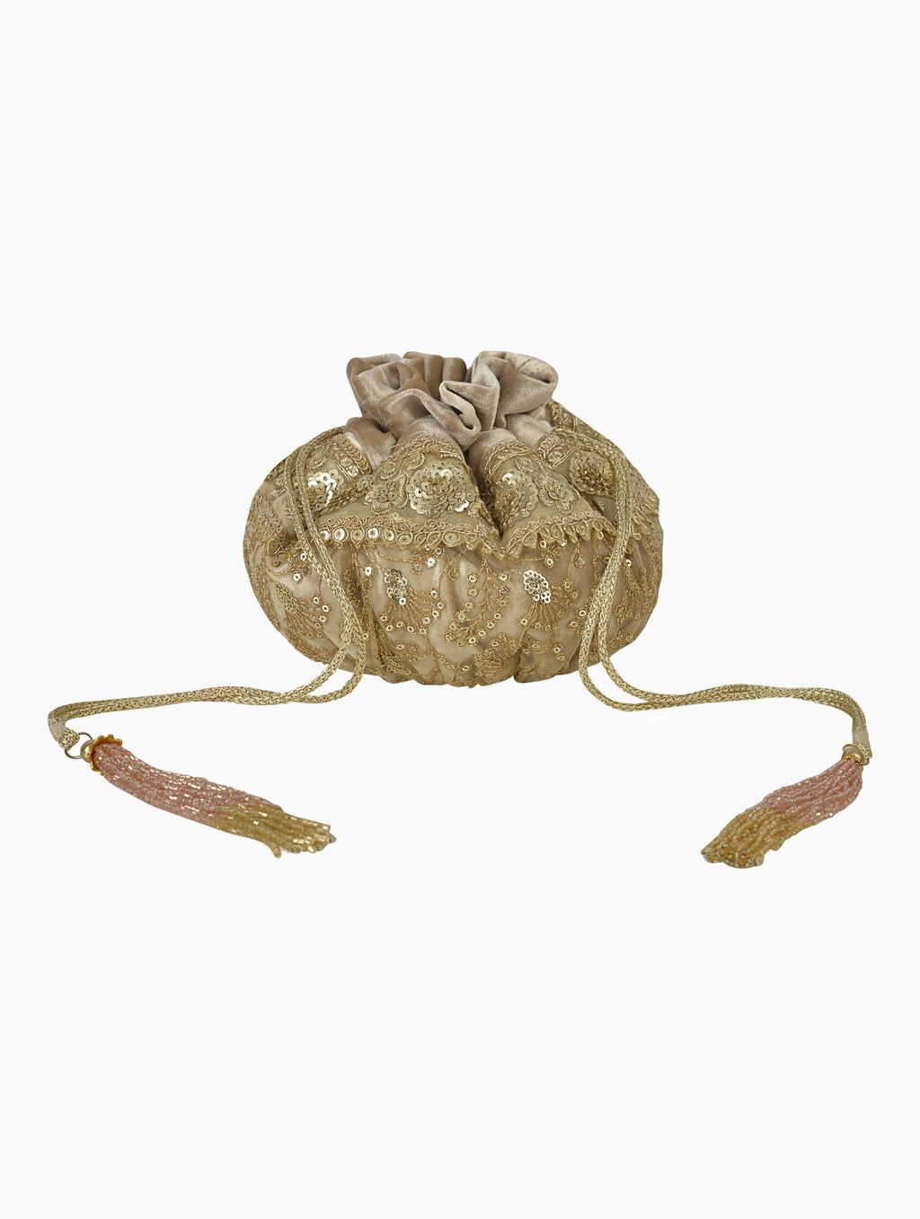 Ozel-Grand Golden Velvet Potli Bag-INDIASPOPUP.COM