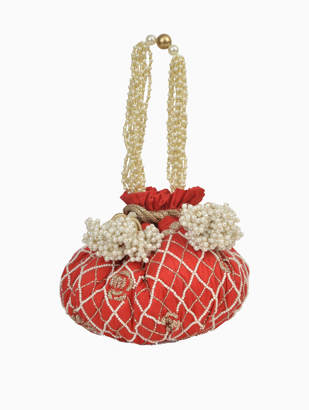 Ozel-Red Raw Silk Rose Maze Potli Bag-INDIASPOPUP.COM