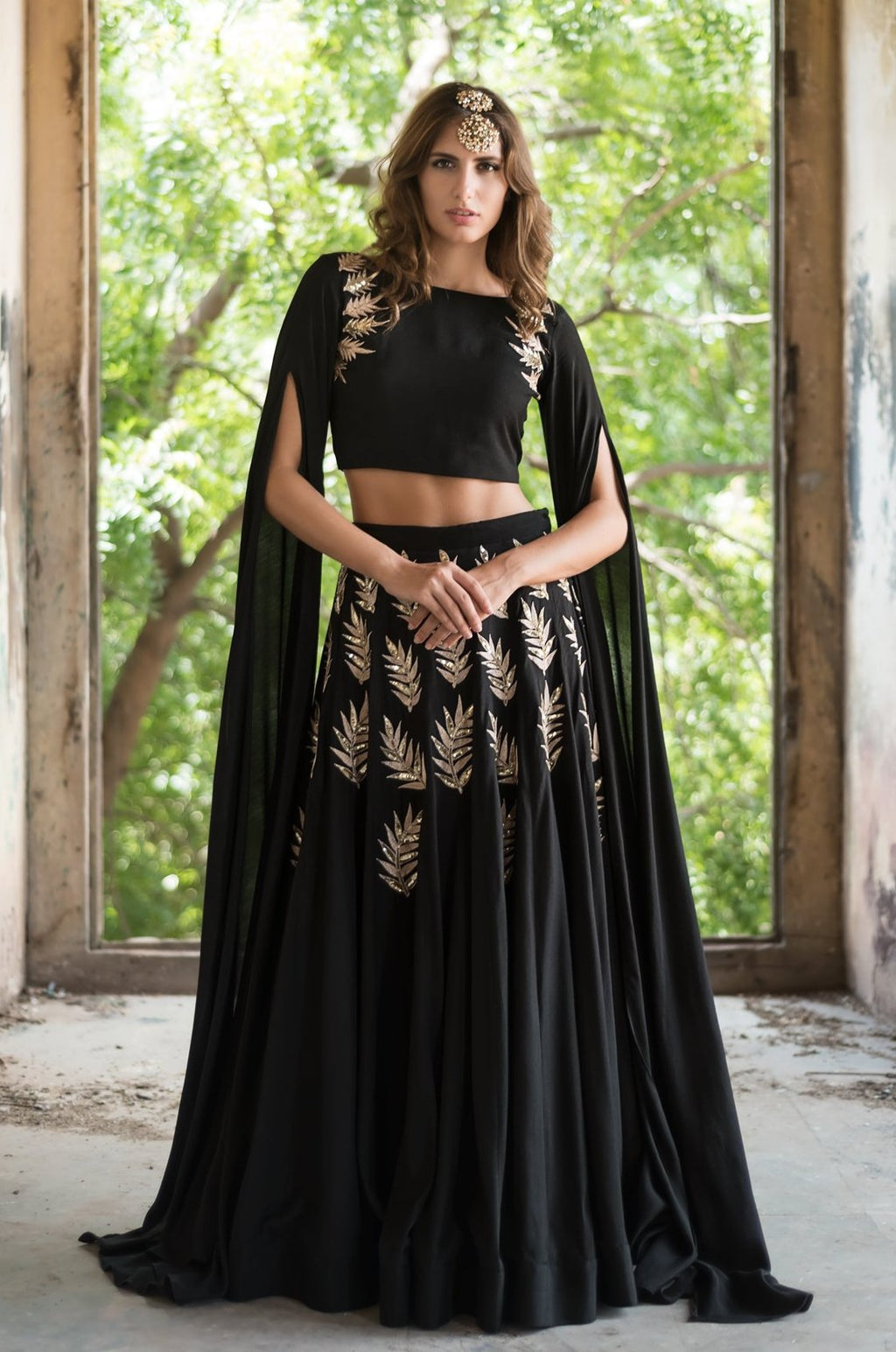 Prathyusha Garimella - Black Cape Crop Top With Lehenga Set - INDIASPOPUP.COM