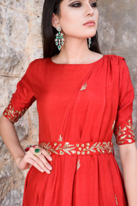 Prathyusha Garimella - Red Anarkali Drape Dress With Belt - INDIASPOPUP.COM