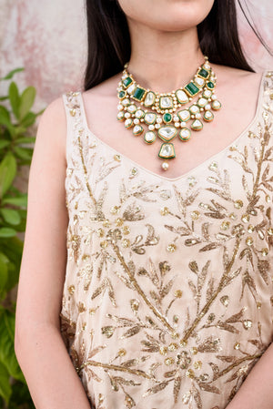 Prathyusha Garimella - Golden & Black Embroidered Top & Palazzo - INDIASPOPUP.COM