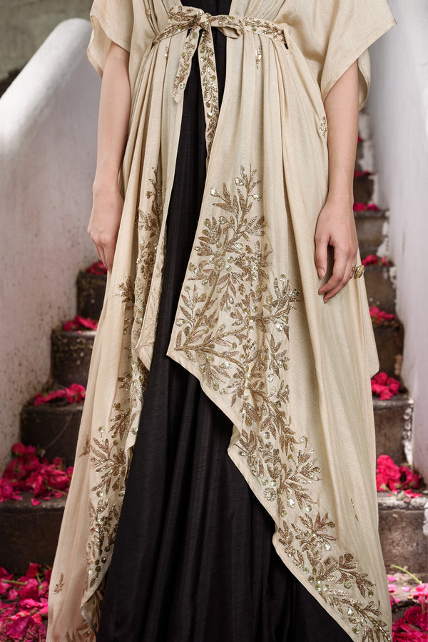 Prathyusha Garimella - Black & Gold Anarkali Set With Cape - INDIASPOPUP.COM