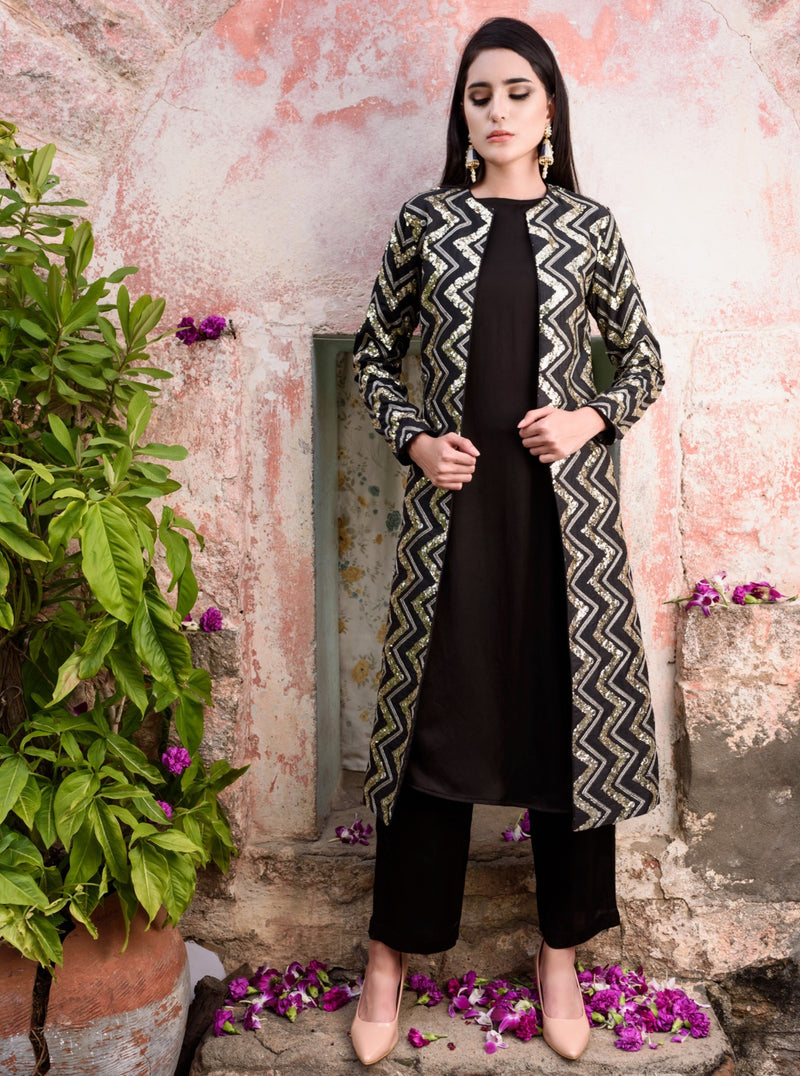 Prathyusha Garimella - Black Kurta & Pants With Jacket - INDIASPOPUP.COM