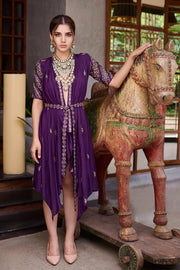 Prathyusha Garimella-Purple Wrap Dress With Belt & Inner Slip-INDIASPOPUP.COM