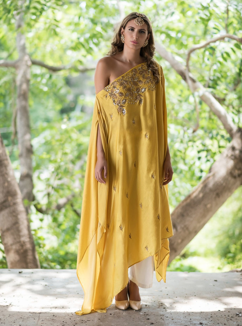 PRATHYUSHA GARIMELLA MUSTARD DROP SHOULDER TOP WITH PALAZZO