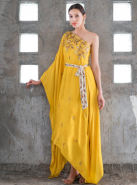 Prathyusha Garimella - Mustard One Shoulder Dress With Bow - INDIASPOPUP.COM