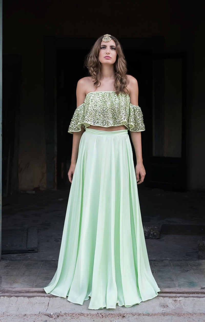 Prathyusha Garimella - Mint Green Crop Top With Satin Skirt - INDIASPOPUP.COM