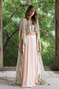 PRATHYUSHA GARIMELLA PINK HIGH LOW TOP WITH SATIN SKIRT