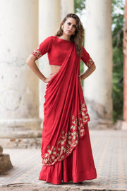 Prathyusha Garimella - Red Drape Crop Top With Red Skirt - INDIASPOPUP.COM